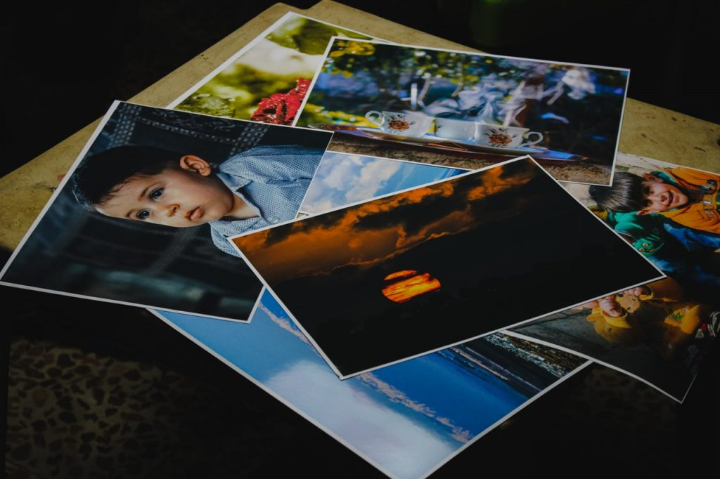 Printed photos placed on top of counter