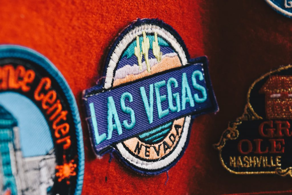 Las Vegas patch sewed on red surface